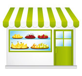 Fair trade grocery. Farming fruits and vegetables. Convenient store. — Stock Vector