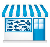Blue fishmonger. Little cute convenience store. — Stock Vector