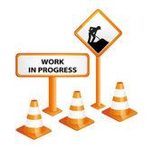 Devam eden çalışma masası ve araziler. yol işareti. — Stok Vektör