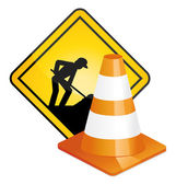 Under construction panel. Road sign and plot. — Vetorial Stock