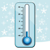 Cold snap. Thermometer winter illustration. — Stok Vektör