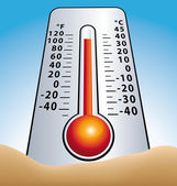 Hot temperature. Thermometer in sand. — Stock Vector