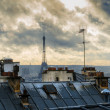 Stock Photo: Paris. France. Roofs of Montmartre. View on Eiffel Tower.