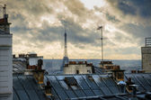 Paris. France. Roofs of Montmartre. View on Eiffel Tower. — Stock Photo