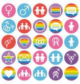 Flat design. Love, family and gays icons set. — Stock Vector