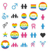Flat design. Love, family and gays icons and pictograms set. — Stock Vector