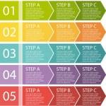 Flat design. Process arrows boxes set. Step by step. — Cтоковый вектор