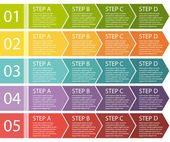 Flat design. Process arrows boxes. Step by step vector set. Four steps. — Stock Vector