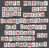 Crime and forensic science theme illustration. Anonymous letter words. — Stock Vector