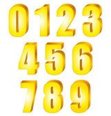 3D Shiny yellow gold numbers. Vector set. — Stock Vector