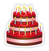 Beautiful birthday cake. Anniversary event vector icon. — Stock Vector