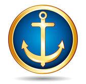 Gold anchor button icon. — Stock Vector