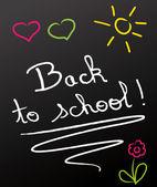 Back to school ! chalked on blackboard. — Stock Vector