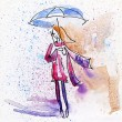 Watercolor Painting. Autumn Girl in the Rain. - Stock Photo
