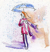 Watercolor Painting. Autumn Girl in the Rain. — Stock Photo