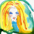 Watercolor Portrait of Blonde Girl - Foto Stock