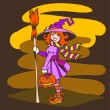 Funny Little Halloween Witch with Pumpkin - Stock Vector
