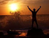 Man at Stormy Sea on Sunset — Stock Photo
