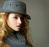Young Blonde Woman with Hat and Scarf — Stockfoto