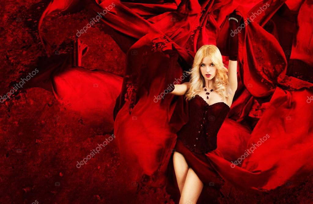 Sexy Blonde Fantasy Woman With Red Waving Fabric. Awesome Wallpaper. — Stock Photo #15627743