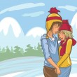 Vector Cute Hand Drawn Winter Couple - Imagen vectorial