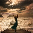 Woman in Dress with Fabric at Sea — Stockfoto