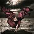 Blonde Woman with Waving Silk at Stormy Sea — ストック写真