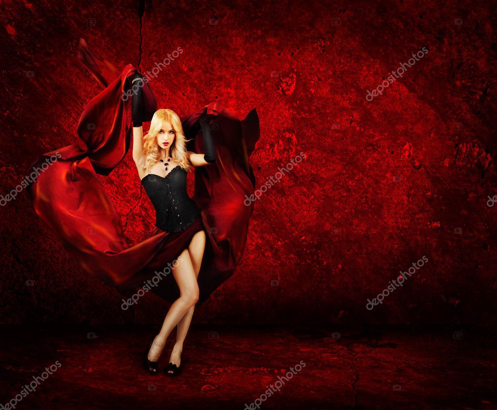 Sexy Blonde Woman With Waving Fabric on Red Background. Beautiful Wallpaper. — Stock Photo #18060385