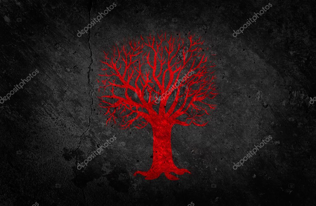 Red Painted Tree on Dark Concrete Wall Background. Beautiful Grunge Wallpaper.  Stock Photo #18319349