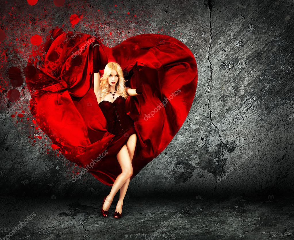 Sexy Woman with Splashing Silk Heart . Beautiful Love Concept for St. Valentine's Day. — Stock Photo #18822881