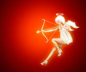 Valentine Card Vith Flying Angel on Red — Stock Photo