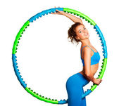Slim Young Woman with Hula Hoop — Stock Photo
