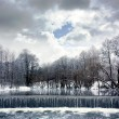 Winter Landscape with River, Waterfall and Clouds — Stockfoto
