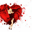 Royalty-Free Stock Photo: Woman with Painted Splashing Heart