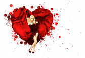 Woman with Painted Splashing Heart — Stock Photo