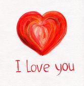 Mano dibujado un corazón rojo sobre papel blanco — Foto de Stock