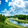 Summer Landscape with River and Clouds — Stockfoto