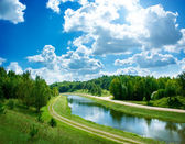 Summer Landscape with River and Clouds — Stock Photo