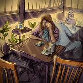 Giovane donna in un bar. illustrazione digitale — Foto Stock