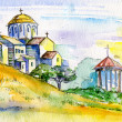 Watercolor Painting. Orthodox Church. — Foto Stock
