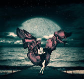 Fantasy Woman with Waving Silk at Stormy Sea — Stockfoto