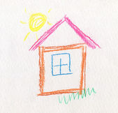 Child Like Drawing House — Stock Photo