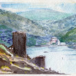 Watercolor Painting. Ruins of Ancient Fortress. - Stock Photo