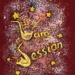 Hand Drawn Illustration with Jam Session Text — Stockfoto