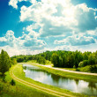 Summer Landscape with River and Clouds — Foto Stock