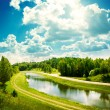 Summer Landscape with River and Clouds — Stock fotografie