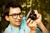 Hipster Man Taking a Photo — Stock Photo