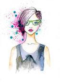 Akvarell porträtt av hipster flicka — Stockfoto