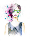 Watercolor Portrait of Hipster Girl — Stockfoto