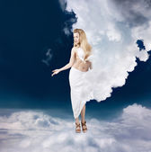 Ancient Greek Goddess in Clouds — Stock Photo